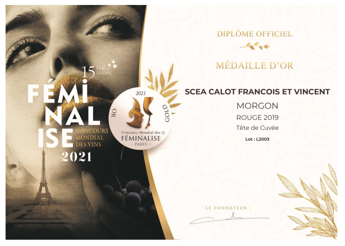 Le Domaine Calot a reçu 2 médailles d'or au concours Feminalise !